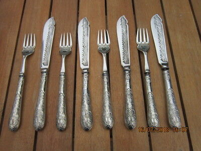 Vintage Fish Knives & Forks Silver Plated Set 8 Pieces