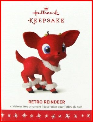 2016 Hallmark Retro Reindeer Flocked Christmas Holiday Ornament