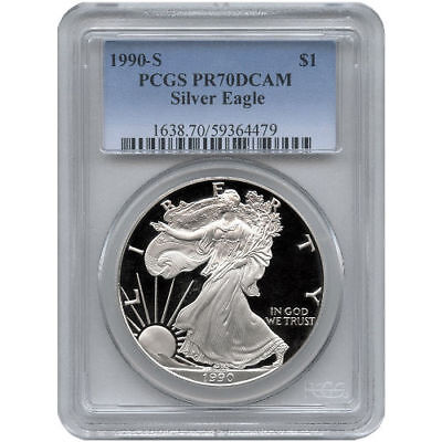 1990-S PCGS PR70 Proof American Silver Eagle Silver One Dollar Coin