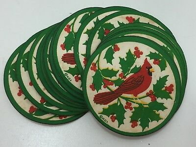 19 Vintage Red Robin Paper Drink Coasters Christmas Holiday Xmas 24388