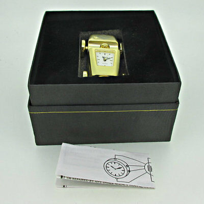 Elgin Gold Tone Quartz Car Desk Clock with Original Box