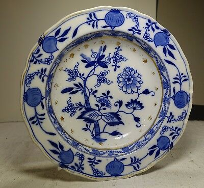 PF19F MEISSEN BLUE ONION SOUP PLATE by Brown Westhead Moore, England 1895 7""
