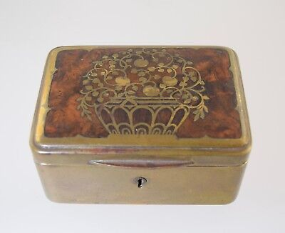 German Erhard & Sohne Wood & Brass Inlaid Jewelry Box Art Nouveau Antique