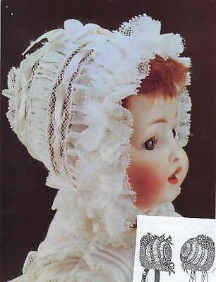 "10""cir)ANTIQUE FRENCH-GERMAN BABY DOLL@1880's PUFFING STRIP LACE BONNET PATTERN"