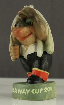 "Vintage Hand Carved Painting Figurine NORWAY CUP 2014 HENNING 4"" Tall"