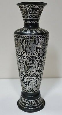 "#V-10 OLD CAIRO WARE NIELLO AND SILVER ANCIENT EGYPTIAN STYLE VASE 8"" high"