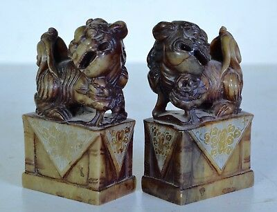 Rare Pair Carved Chinese Soapstone FOO DOGS antique 19th century signed