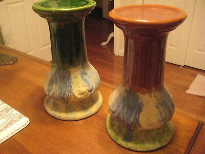 2 Mccoy Pottery? Jardiniere With 4 Medallion Faces 13 Inches Pedestals Scarce!
