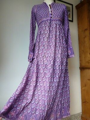 Phool Vintage Indian Cotton Gauze Block Print Maxi Dress,Hippy boho,Festival.
