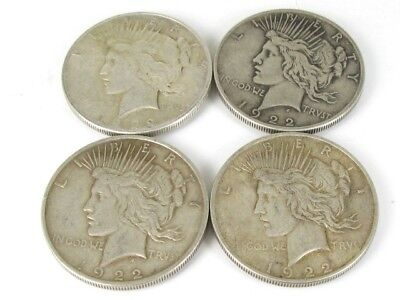 Collectible 1922 United States Silver Peace Silver Dollar Coin Lot of 4
