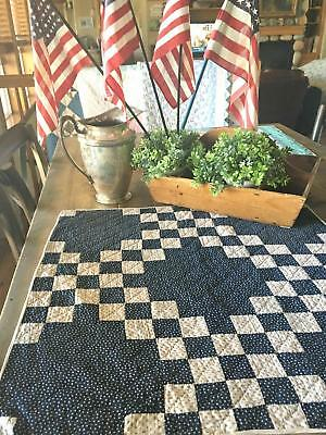 "Farmhouse Table! Antique Indigo Blue & White Irish Chain Crib or Doll QUILT 24""L"