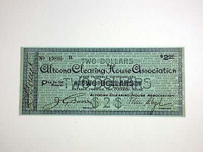 Altoona Clearing House Associate $2 1907 Scrip Note S/N 19805 VF+