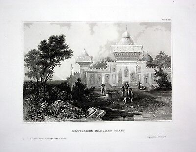1840 - Mausoleum Sultan Mahomed Chan India Asia steel engraving antique print