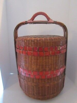 Vintage ORIENTAL ASIAN CHINESE WEDDING NEW YEAR BASKET GIFT LACQUERED STACKING