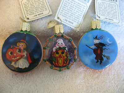 Owc Halloween Ornament Lot Of 3,inside Art,retired,old World Christmas,box,my A