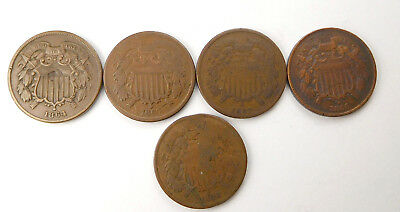 1864,1865,1867,1868,1869 Shield Large Motto Two Cents - Lot Of 5