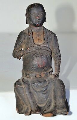 antique Chinese Lohan Lo han carved wooden Buddha diety very old Ming?