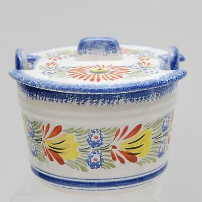 VINTAGE HENRIOT FRANCE Quimper Butter Cheese Bucket_Crock_Hand Painted_Signed