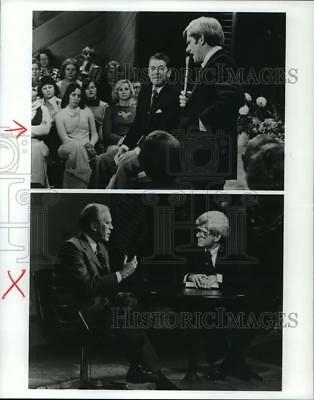 1992 Press Photo Television Host Phil Donahue with Gerald Ford and Ronald Reagan