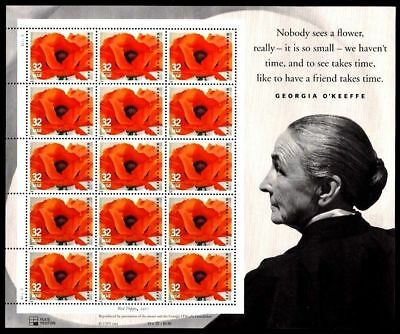 EIGHT VF MNH Sheets-20 of the 1996 Georgia O'Keeffe Artist .32 Stamp Scott# 3069