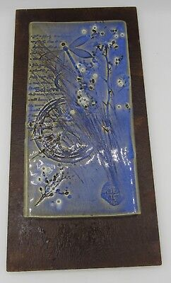 Signed hand crafted artisan pottery tile wall hanging Believe dragonfly/clock