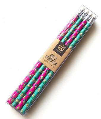 New U Brand Pineapple Colorful Fun #2 Pencils, Pink and Turquoise, 8 count