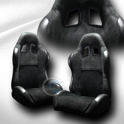 Sp Sport Style Blk Suede Leather Reclinable Racing Bucket Seats+Sliders L+R C41