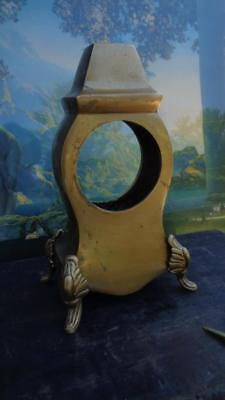 """Brass Clock Housing Vintage 8.5"""" Tall Openings 3 ¾ and 2 ¾ inches Weights 2.5Lbs"""
