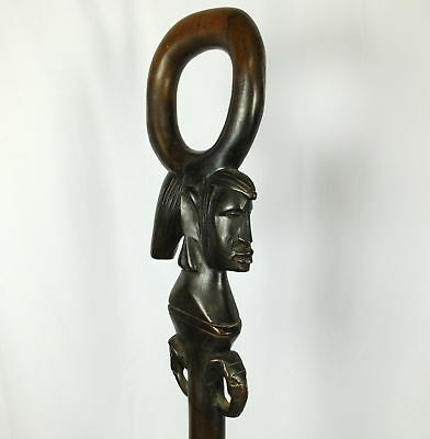 VTG African Ebony Hand Carved Figural Carved Woman's Face Cane Walking Stick