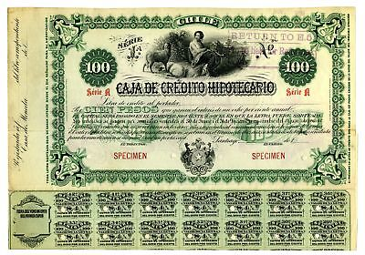 Chile. Caja de Credito Hipotecario 1899 Specimen 100 Pesos Coupon Bond Green ABN