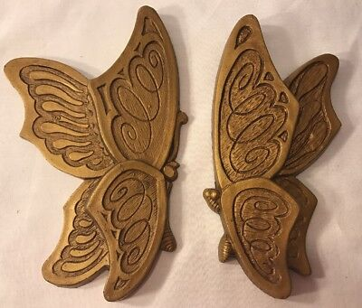2 Universal Statuary 1973 Gold Butterfly Wall Plaques Home Interior Decor