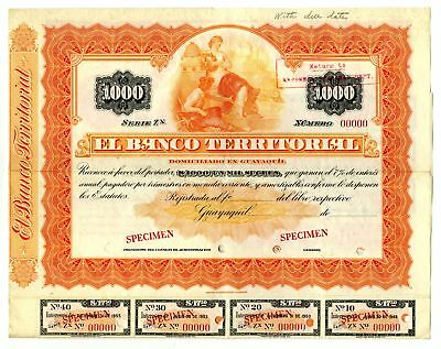 Ecuador. Banco Territorial 1890-1910 Specimen 1000 Sucres Coupon Bond Orange ABN