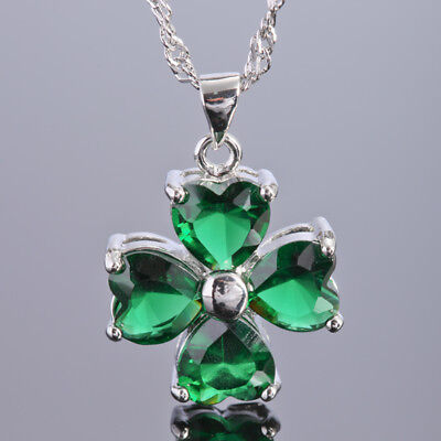 Wedding Jewelry Heart Cut Green Emerald White Gold Plated Gp Pendant Necklace