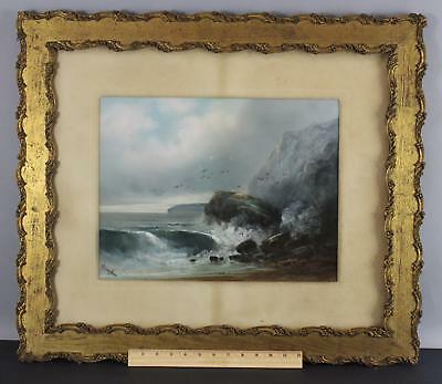 Antique WILLIAM CHANDLER Impressionist Rocky Seascape Pastel Drawing Painting NR