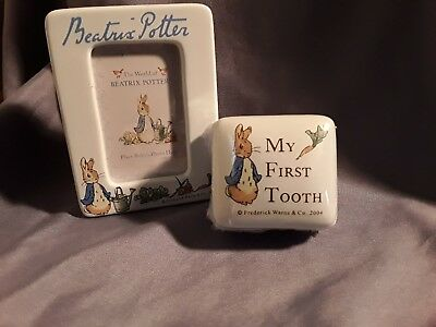 Beatrix Potter Peter Rabbit Mini Frame & My 1st. Tooth Box New