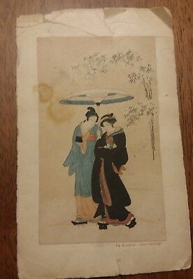 "Isoda Koryusai ""Under One Umbrella"" Japanese Woodblock Hand Print"