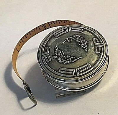 Antique  Art Deco Sterling Silver Blue Measuring Tape Sewing #359