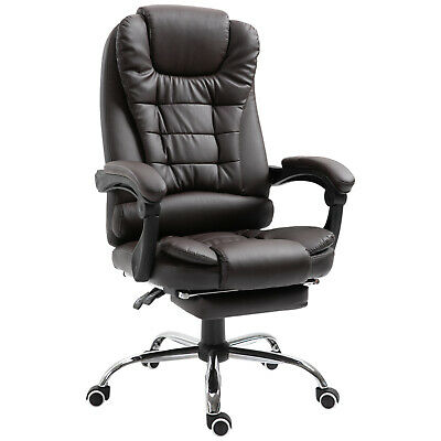Office Chair Computer Gaming Racing Swivel Chair PU Leather High Back Coffee