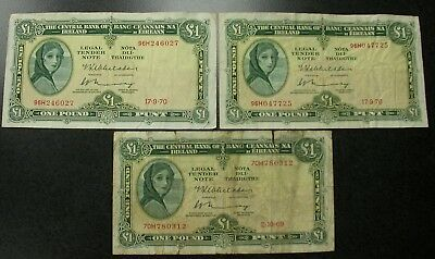 Lot Of Obsolete Ireland Currency 1969 1970 One Pound Notes Ireland Paper Money