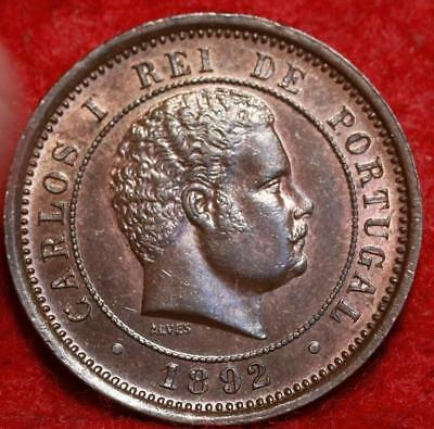 Uncirculated 1892 Portugal 5 Reis Foreign Coin