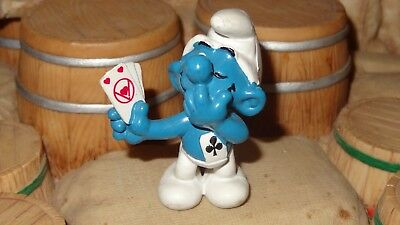 Smurfs Card Player Smurf Jokey Cheating at Cards Vintage Classic Display Figure