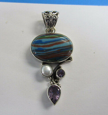925 Sterling Silver Rainbow Calsilica Pendant Amethyst and Pearl Cabochons