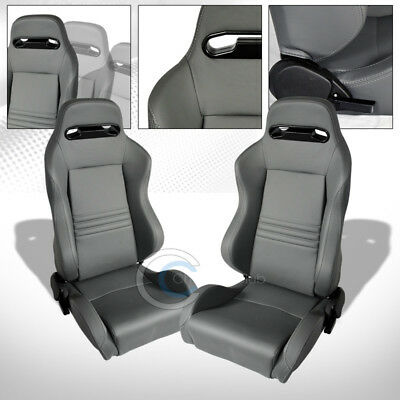 T-R Sport Gray Stitch Pvc Leather Reclinable Racing Bucket Seats+Slider Pair C41