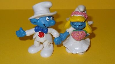 Smurfs Bride and Groom Smurf Rare Vintage Figurines lot of 2 Wedding Toppers