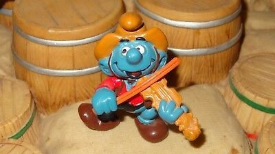 Smurfs Violin Smurf Playing a Fiddle Cowboy Vintage Classic Display Figure