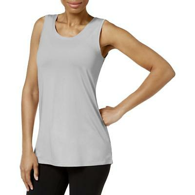 Gaiam Womens Whitney Gray Criss-Cross Yoga Fitness Tank Top Shirt L BHFO 3661