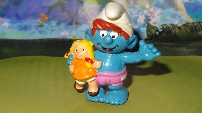 Smurfs Child Smurf with Doll Baby Rare Vintage Classic Display Figurine