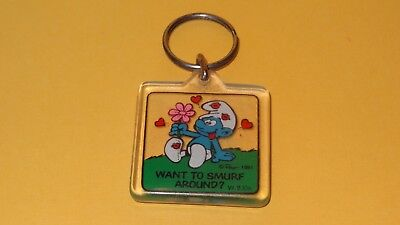 Smurfs WANT TO SMURF AROUND? Acrylic Keychain Ornament Rare Vintage Schtroumpf