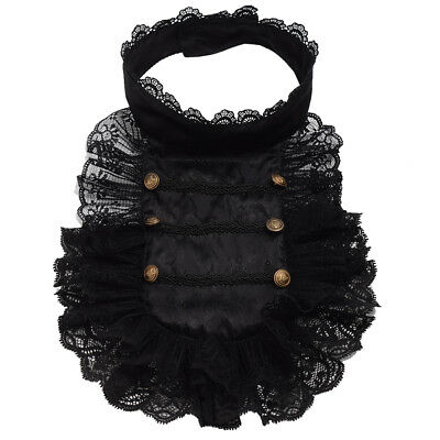 Steampunk Victorian Men's Hand Made Black Lace Necklace Ruffle Collar