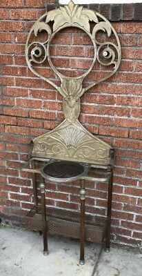 6ft Antique Art Deco Metal Entry Hall Tree Umbrella Stand Coat Hat Rack Original